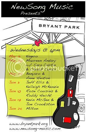 NewSong Bryant Park Flyer