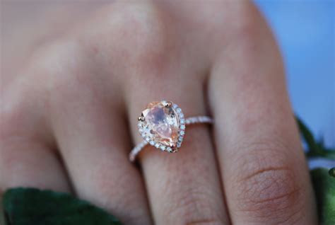 Peach Sapphire Engagement Ring 14k Rose Gold 2ct, Pear Cut