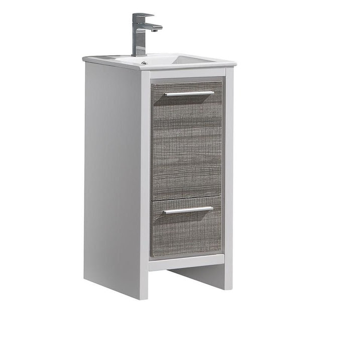 Fresca Allier Rio 16 In Ash Gray Single Sink Bathroom Vanity With White Ceramic Top In The Bathroom Vanities With Tops Department At Lowes Com