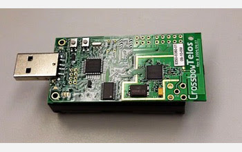 Photo of a matchbox-sized sensor device that records disease-spreading interactions.
