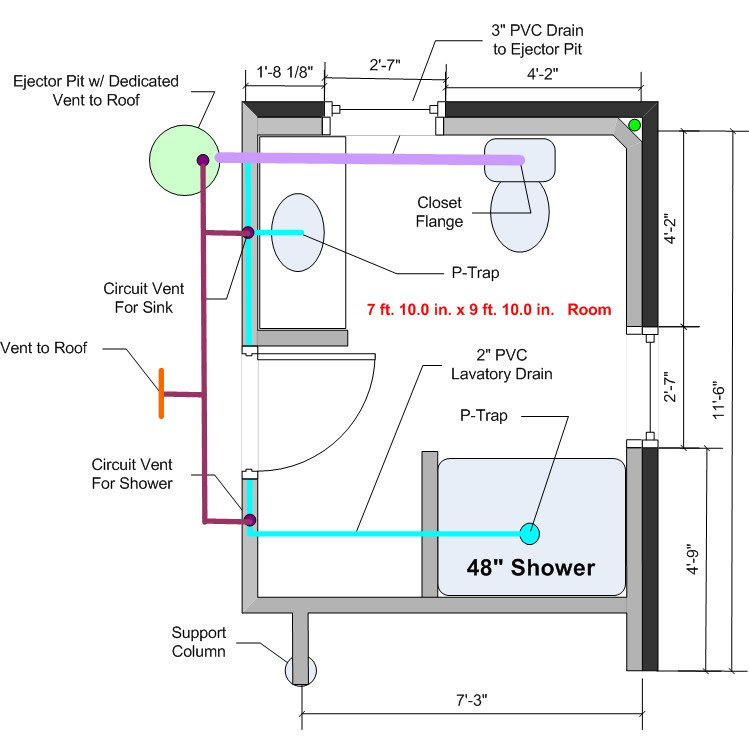 Basement Bathroom Rough In - Any Feedback on the Drain/Vent Setup ...