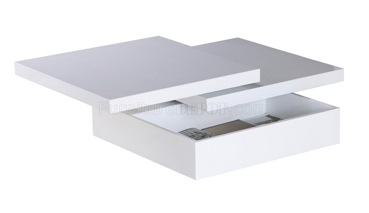 Mellow Square Motion White Coffee Table w/Storage by Whiteline