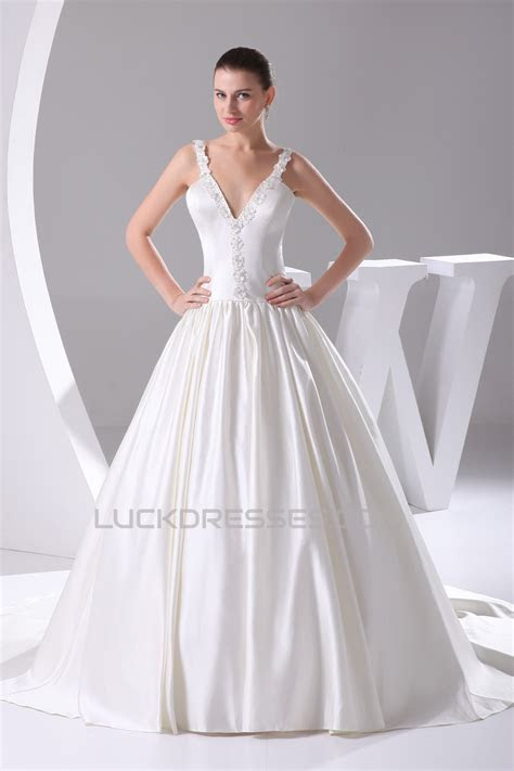 Hot Sale Sleeveless Satin Ball Gown V Neck Beaded Wedding