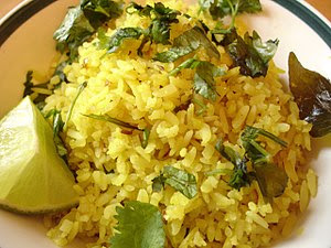 Poha, a snack made of flattened rice.