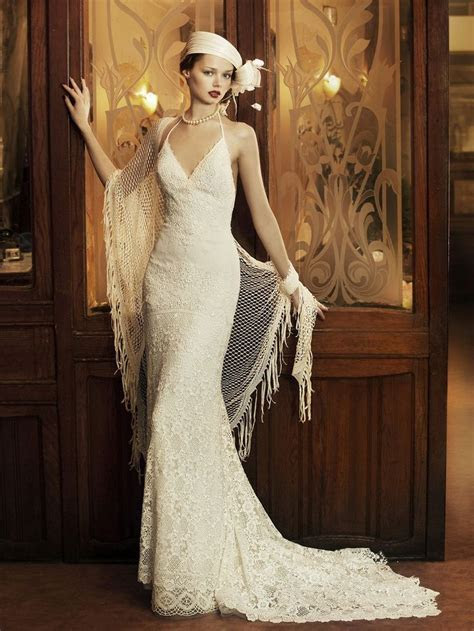 1930s style modern wedding dress, worn with hat and