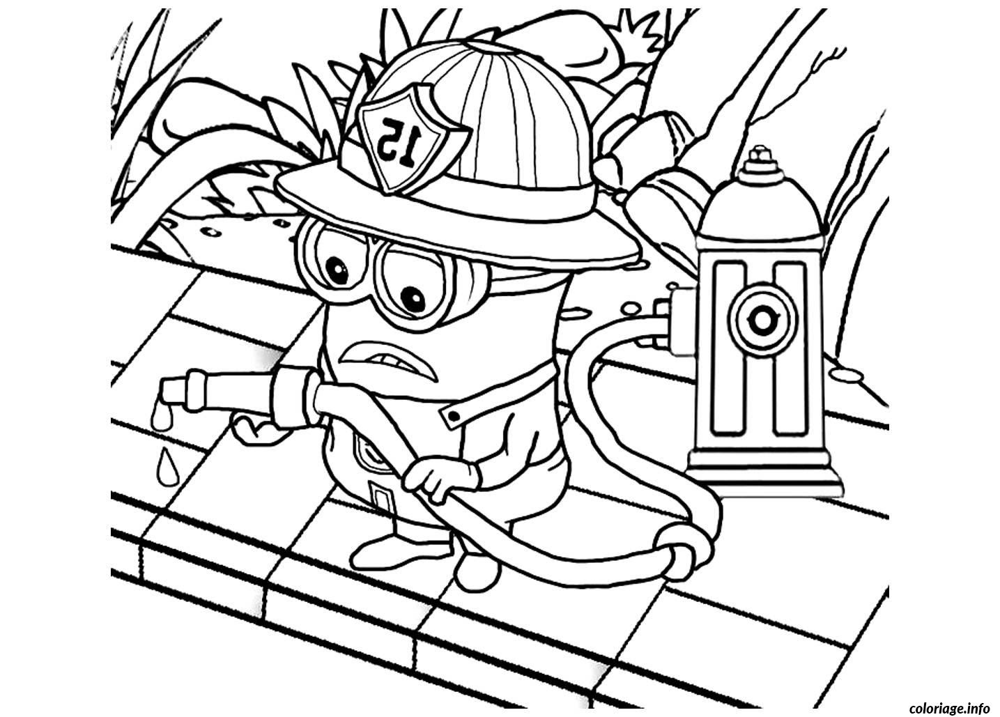 Coloriage Dessin Minion Le Pompier Dessin  Imprimer