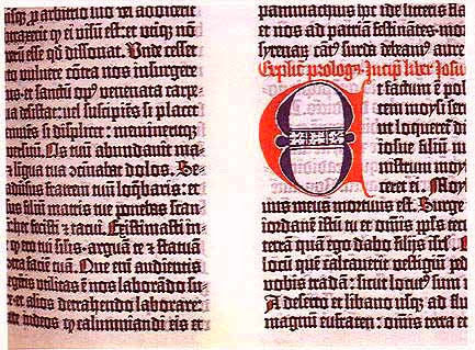 Selection from the Gutenberg Bible, from the Library of Congress website
