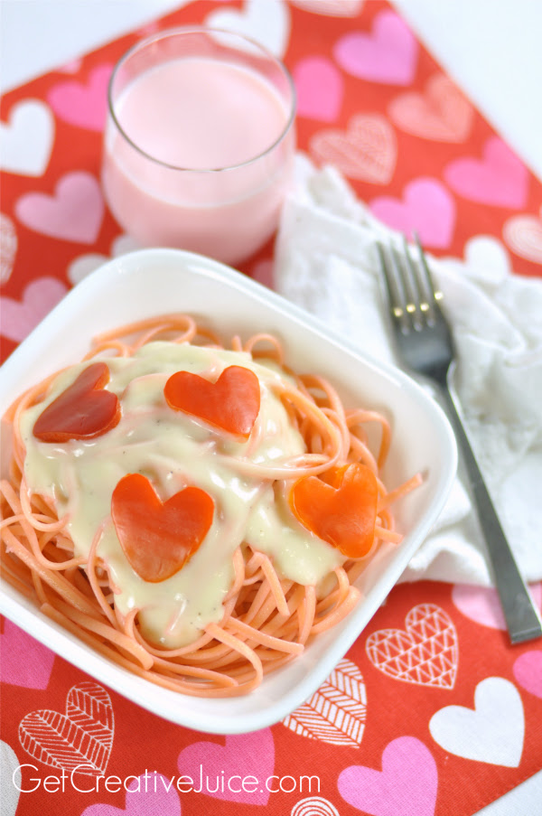 Valentines Day Dinner Idea Pink Pasta Red Pepper Hearts