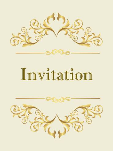 classic golden invitation card birthday greeting cards