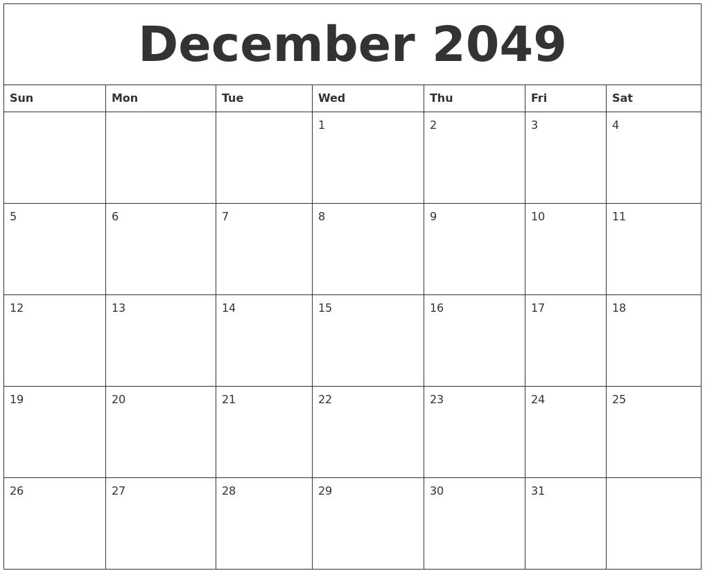 december 2049 free weekly calendar