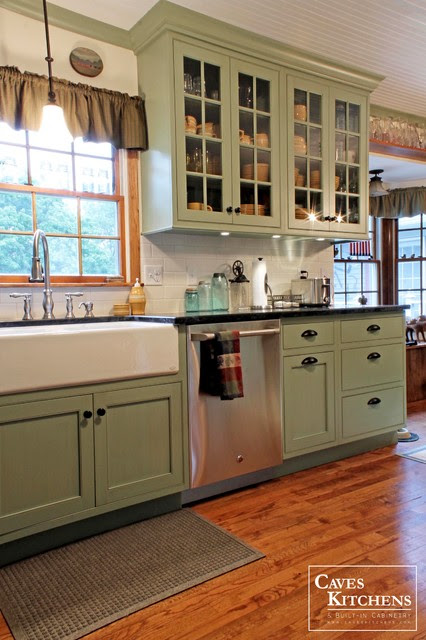 Sage Green Country Cottage Kitchen with Farmhouse Sink ...
