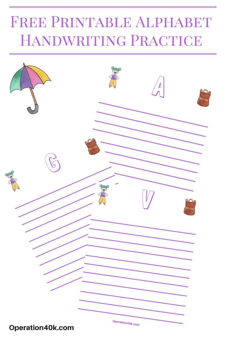Free Alphabet Printable Handwriting Worksheets Operation
