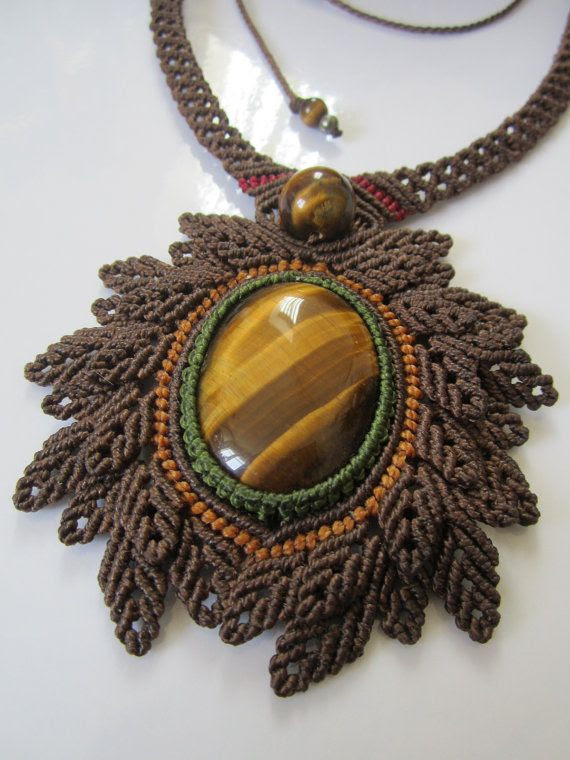 Tiger Eye Macrame Necklace Handmade Creation by PapachoCreations, $75.00