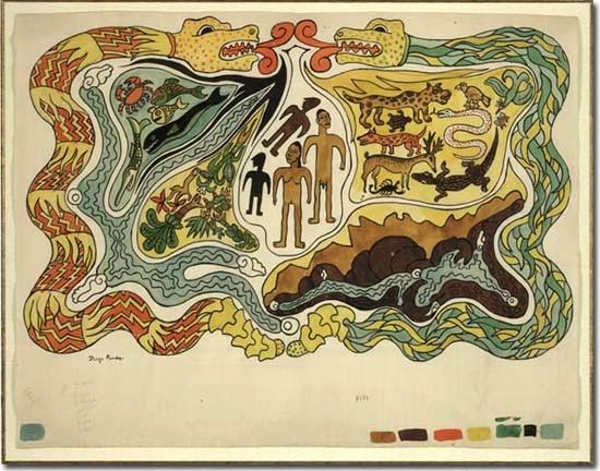Diego Rivera (1886-1957): A Teremtés. Illusztráció a Popol Vuh-hoz, 1931 k.
