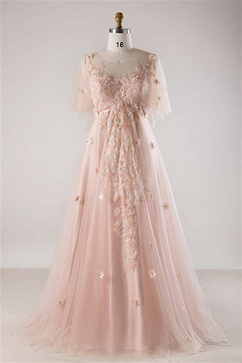A Line Tulle Sleeve Blush Pink Lace Flower Bohemian Plus