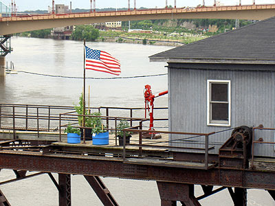 Potted plants on lift bridge