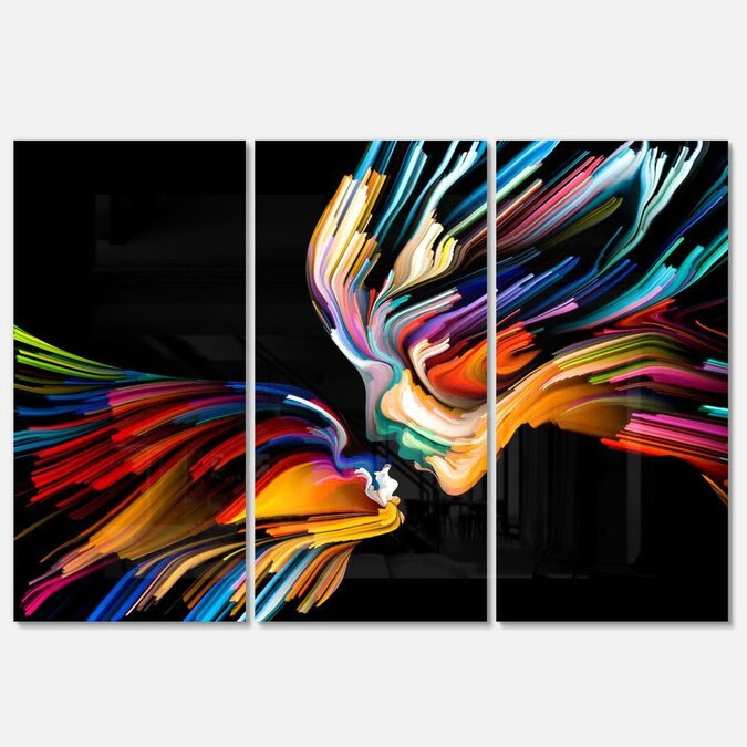 Designart Kissing Minds Graphic Art- Multipanel Abstract ...
