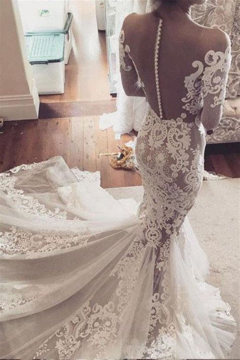 See through Mermaid Lace Appliques Long Sleeves Tulle
