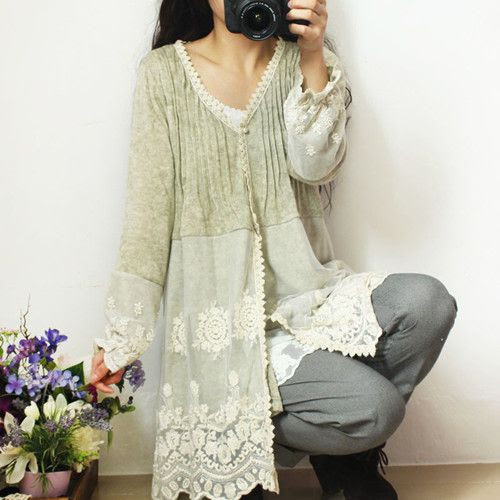 short cardigan with lace added: