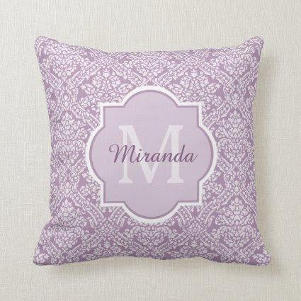Elegant Monogram Feminine Purple Damask With Name Pillow