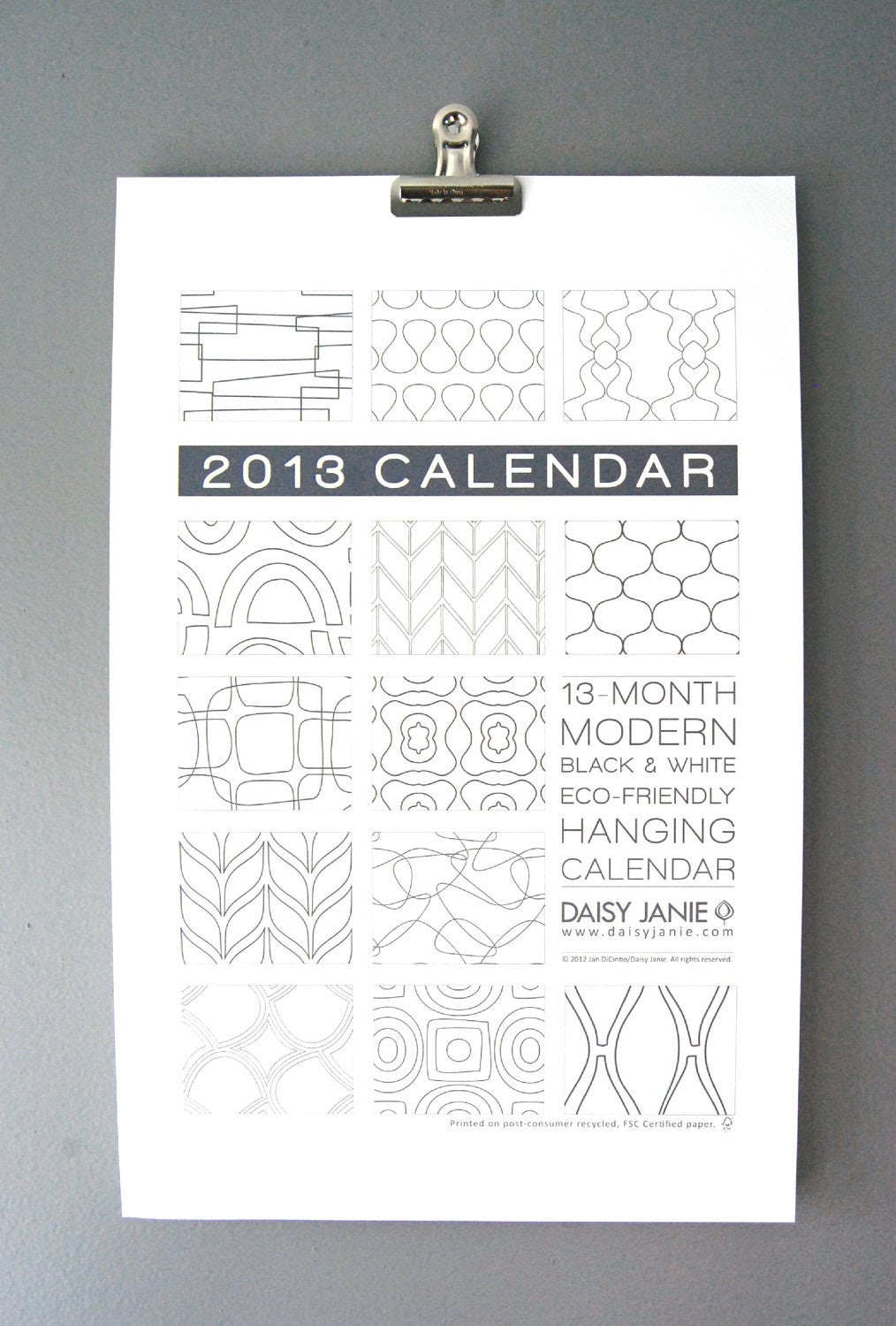 2013 Wall Calendar, big, black & white