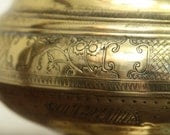 Brass bowl with lid - large decorative bowl on pedestal with lid with lots of intricate engraving