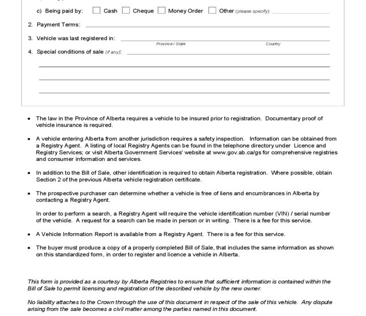 Form NEW BILL OF SALE VEHICLE FORM ALBERTA - Sample billing invoice excel official ugg outlet online store