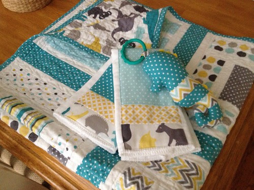 Baby Gift Set using Down Under fabric by Mint Blossom