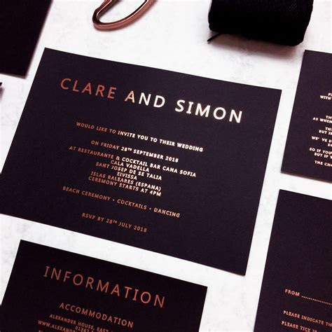 rose gold and black copper foil wedding invitation by made