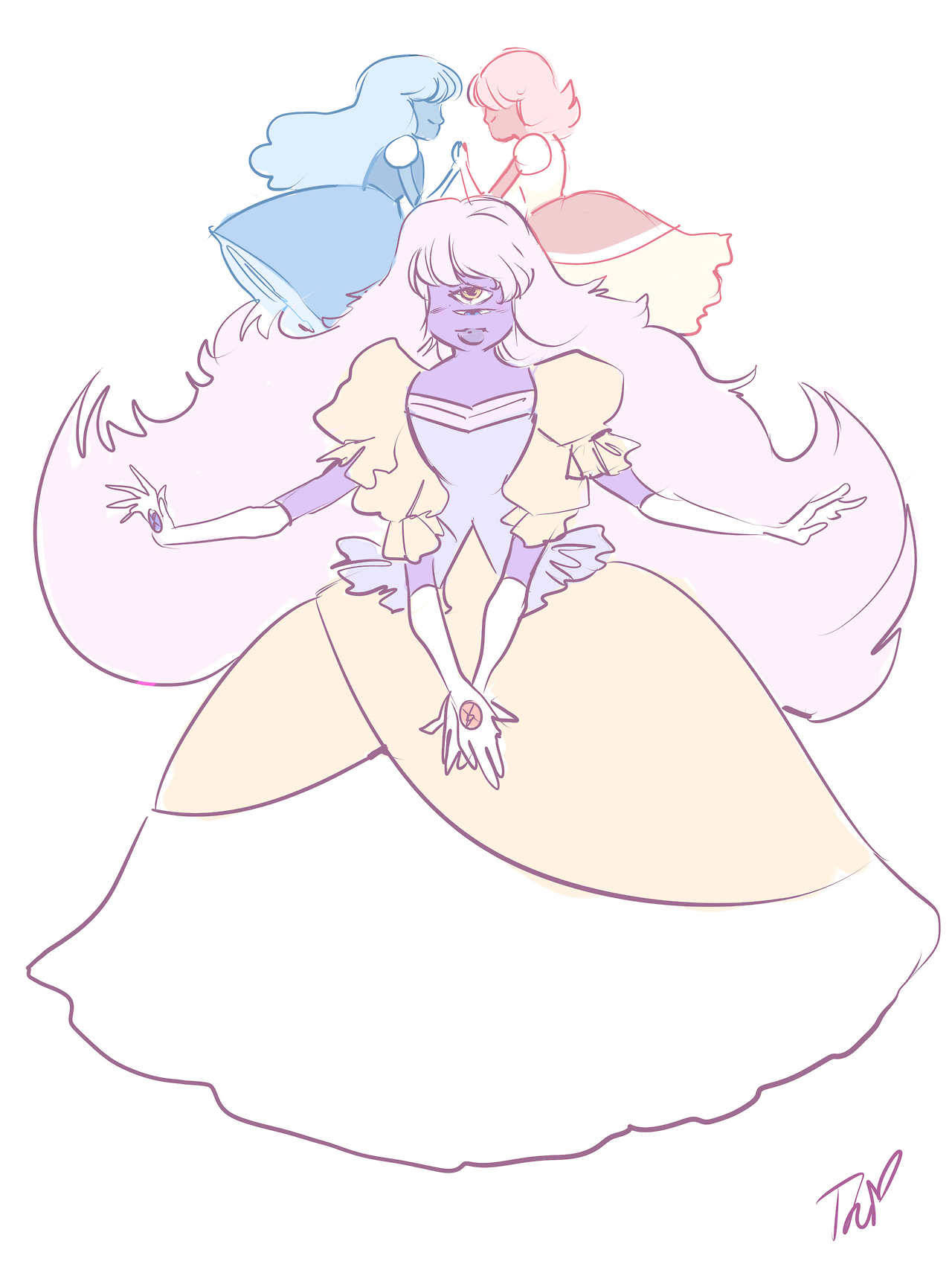 A fusion of two characters that will never fuse. Royal Sapphire has the ability to see the present through everyone's eyes around her. She's super easily distracted by this, so she's really clumsy and...