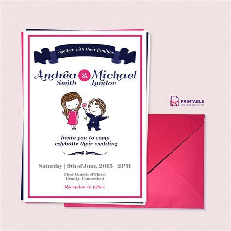 Cute Couple Illustration ? Wedding Invitation Template