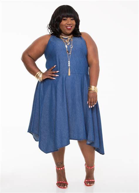 Hanky Hem Denim Dress Plus Size Dresses Ashley Stewart 010