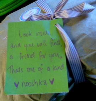 Nooshka Etsy sewer seller handwritten note