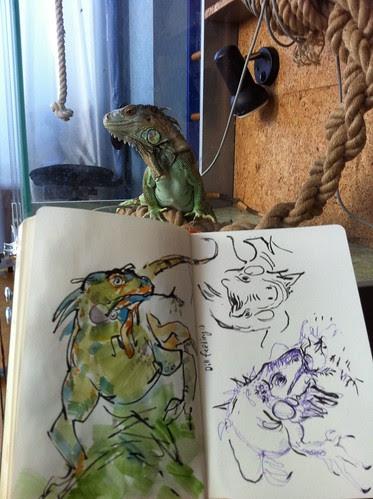 Feeding Iguana by apple-pine