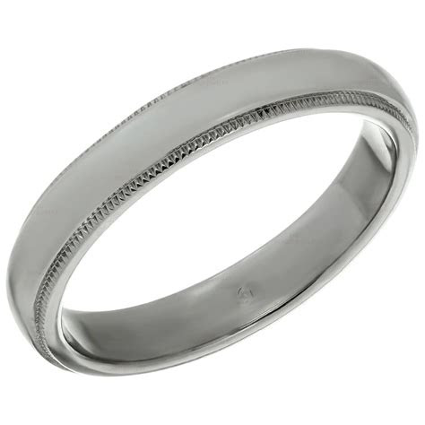 tiffany   platinum milgrain mens wedding band ring
