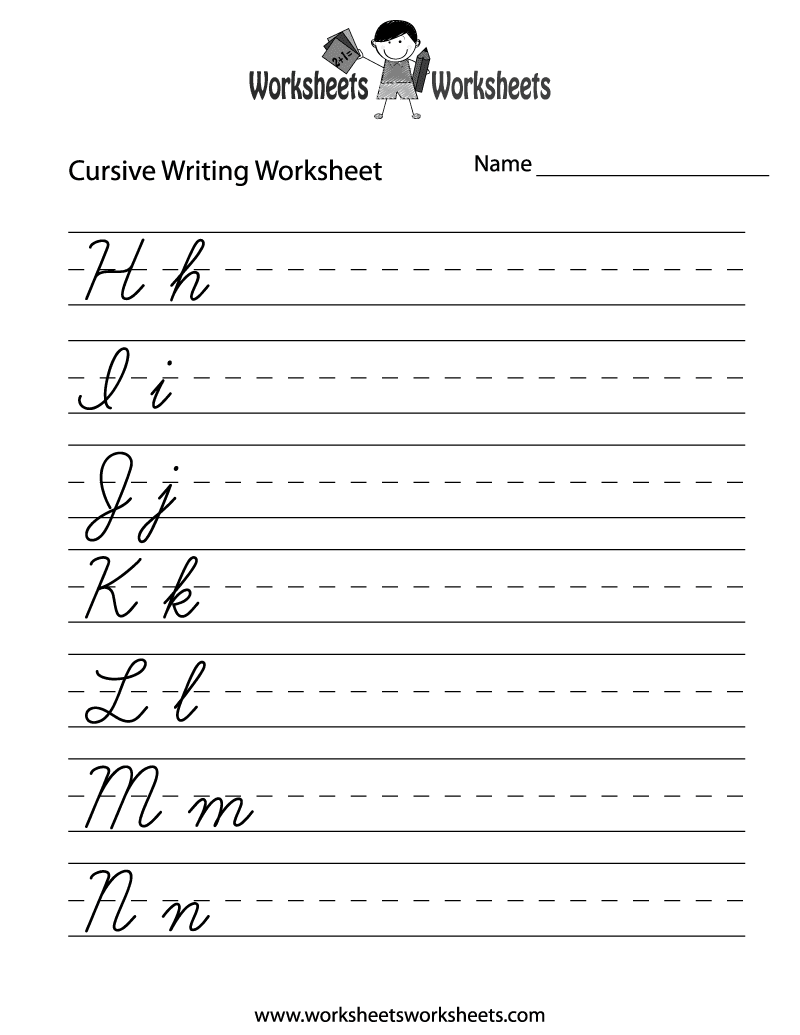 Teaching Cursive Writing Worksheet  Free Printable Educational Worksheet