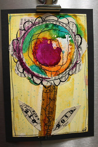 mixed media flower on yupo paper by alteredstatesstudio