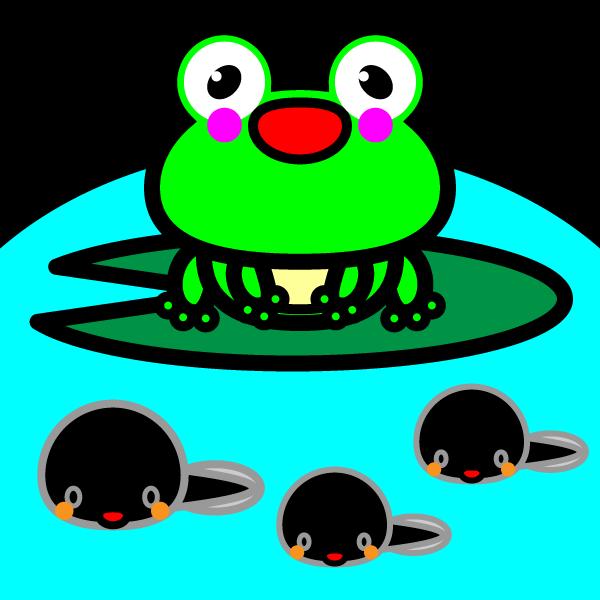 かわいいカエルとおたまじゃくしの無料イラスト商用フリー オイデ43