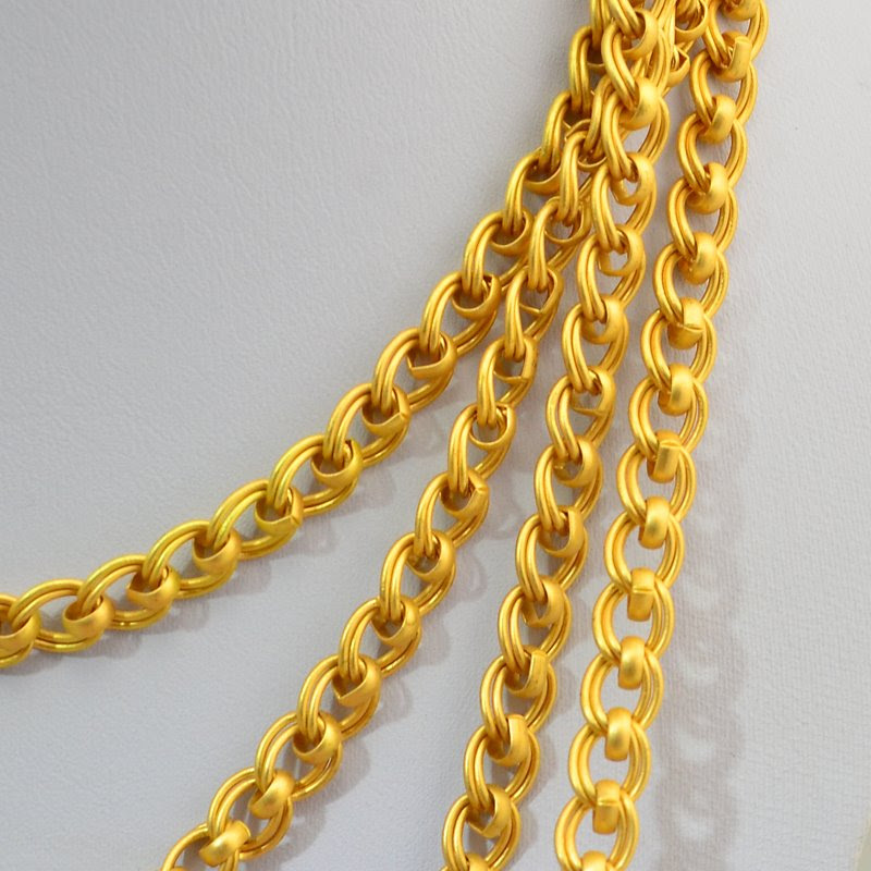 s46013 Chain -  Double Link Curb - Matte Bright Gold Plated (Inch)