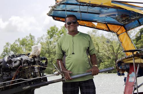 Longtail boat driver at Bang Mud Seafood restaurant