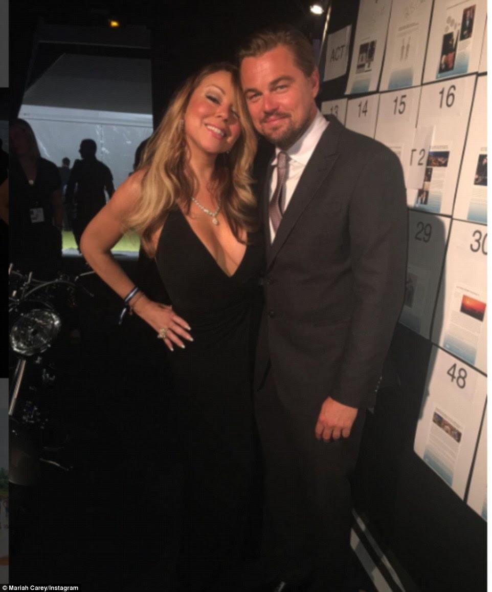 Com o homem principal: Mariah postou um Instagram SNAP com o anfitrião da festa Leo DiCaprio