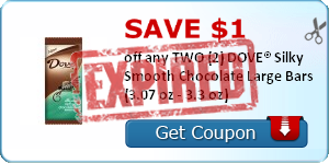 Save $1.00 off any TWO (2) DOVE® Silky Smooth Chocolate Large Bars (3.07 oz - 3.3 oz)