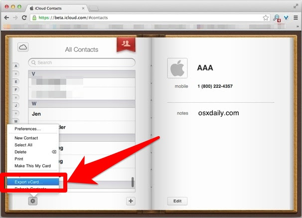 Save a single contact from iCloud