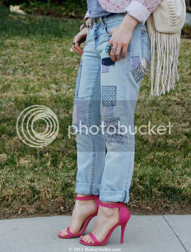 Gap patchwork jeans, ankle strap heels, Mossimo fringe bag
