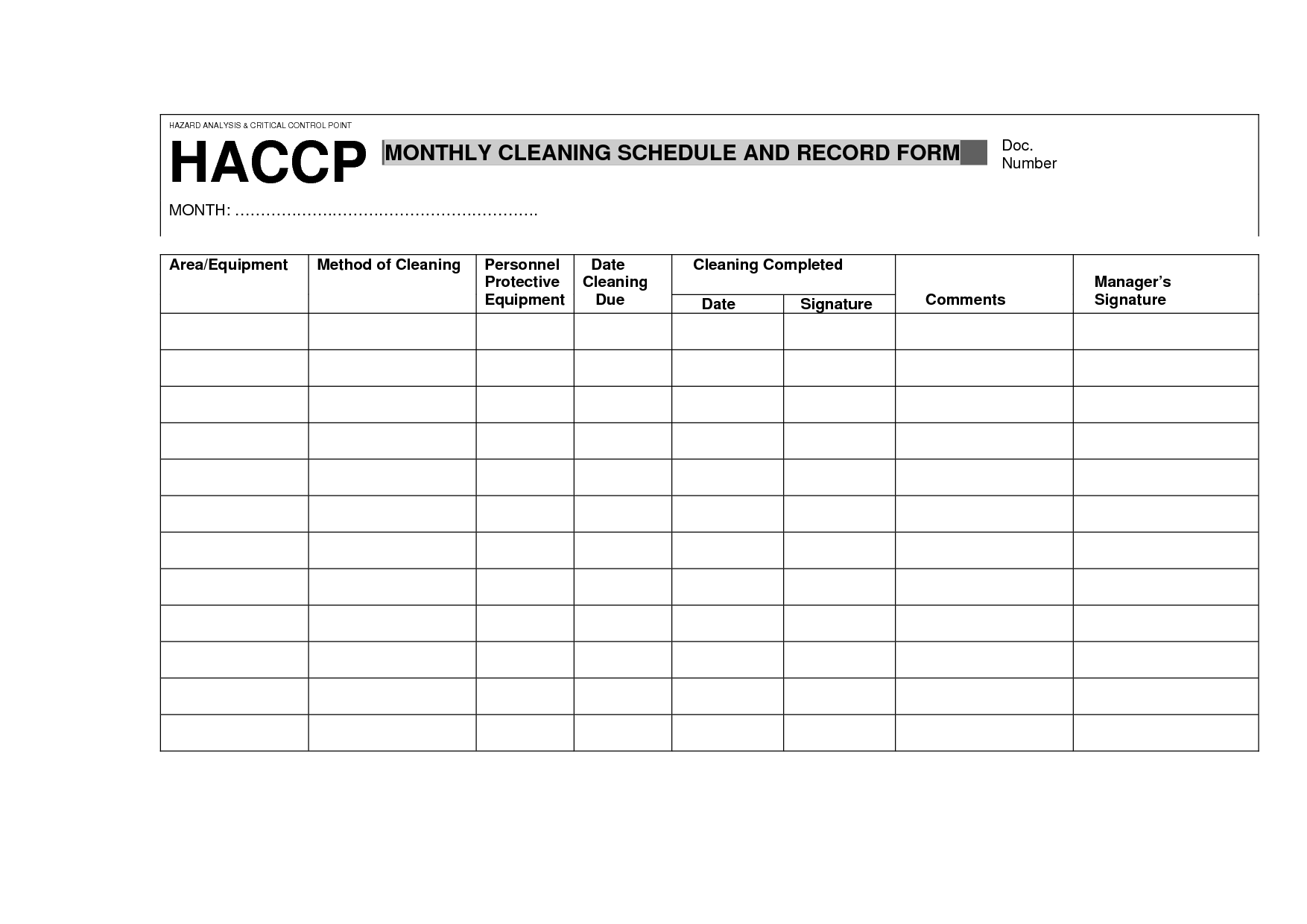 Haccp Daily Cleaning Schedule Record Form