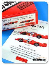 Maqueta de coche 1/24 Model Factory Hiro - Alfa Romeo Tipo 33  Nº 36, 38, 39, 40, 41 - 24 Horas de Le Mans 1968, 1969