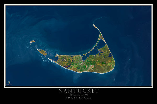 Nantucket Massachusetts Satellite Poster Map Aerial