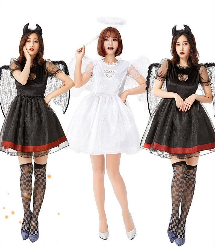 Sale  2 Color Hot Popular Black White Sexy Angels Costume Halloween Cosplay Lingerie Dress Women Fallen A