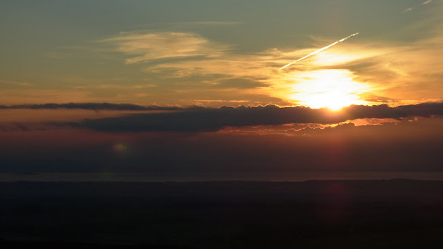 Sunset over East Lothian from the Lammermuirs.