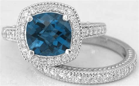 Cushion Cut London Blue Topaz Diamond Engagement Ring and